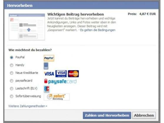 Auch in Deutschland ist es nun möglich, Posts durch Bezahlung hervorzuheben.