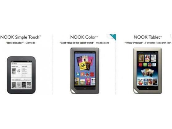 Der E-Reader Nook wird bei Barnes & Nobles in drei verschiedenen Ausführungen angeboten.