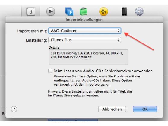 Für die Erstellung eines Klingeltons muss das AAC-Format eingestellt sein.