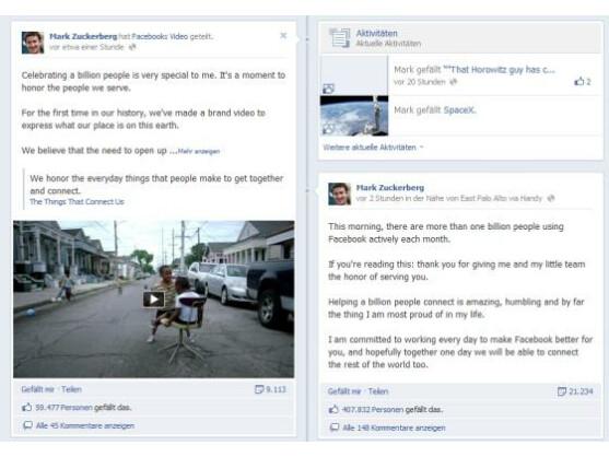 Facebook-Chef Mark Zuckerberg ist stolz auf eine Milliarde aktive Nutzer.