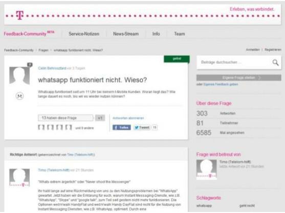 In der Feedback-Community beantwortet die Telekom Fragen ihrer Nutzer, auch zum WhatsApp-Ausfall.