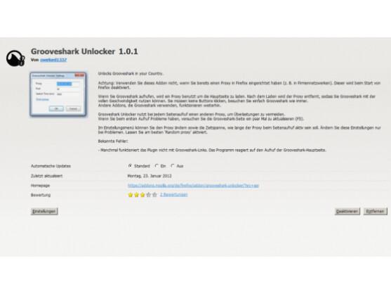 Mit der Firefox-Erweiterung Grooveshark Unlocker umgeht der Nutzer die Ländersperre für Grooveshark in Deutschland.