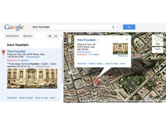 Die Foto-Tour des Trevi-Brunnen kann auf dem kleinen Bild links oder direkt in der Karte gestartet werden.