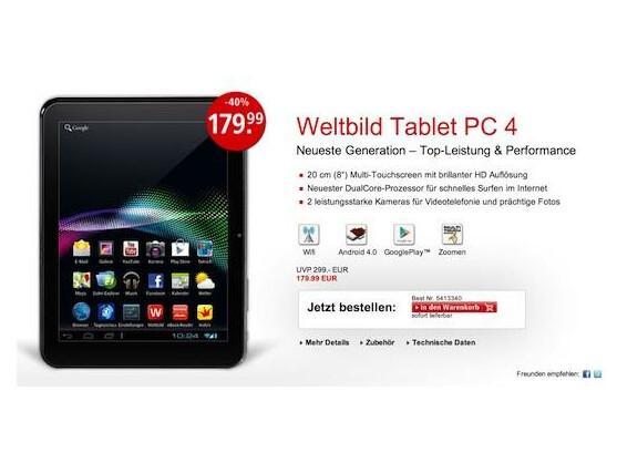 Frische Konkurrenz in der 200-Euro-Klasse: der Tablet PC 4 von Weltbild und Hugendubel.