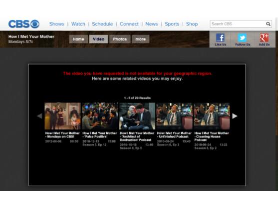 Ganze Episoden beliebter Serien sind bei CBS leider nur aus den USA abrufbar.
