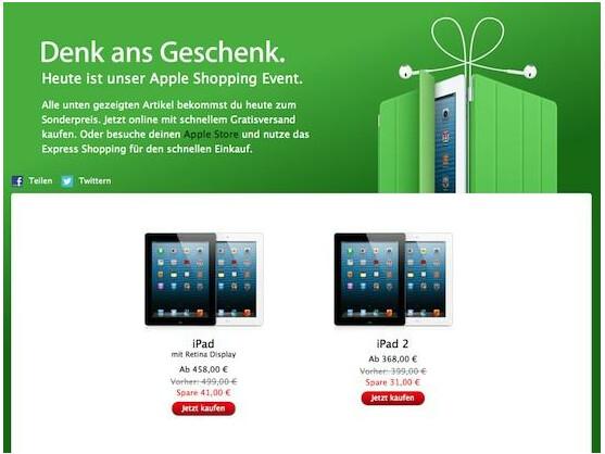 Gilt nur heute: Apple gewährt auf ausgewählte Produkte Rabatte in Höhe von bis zu 101 Euro.