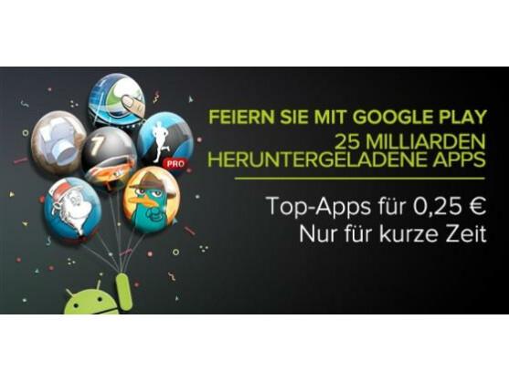 Google feiert: 25 Milliarden Apps wurden bei Google Play bislang heruntergeladen.