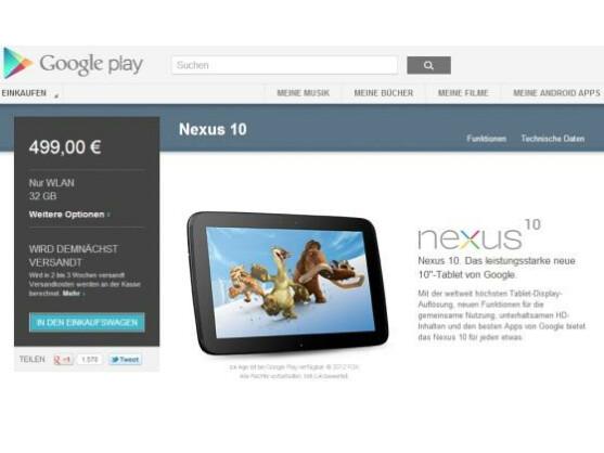 Das Google Nexus 10 ist wieder bei Google Play verfügbar.