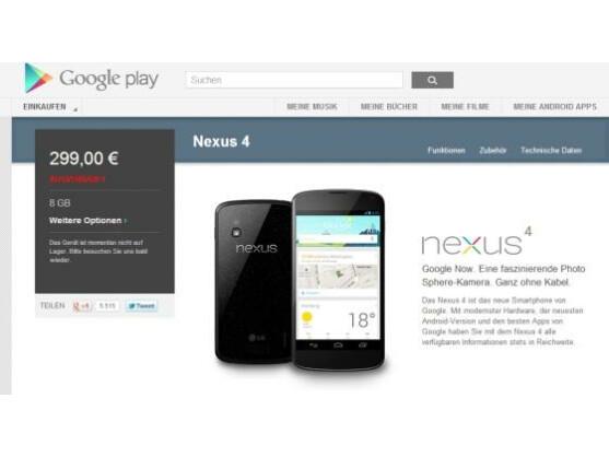 Das Google Nexus 4 war bereits nach wenigen Sekunden ausverkauft.