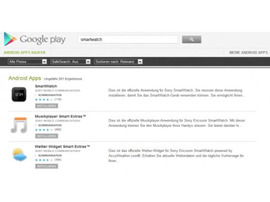 Im Google Play Store findet sich eine recht große Auswahl an Anwendungen für die SmartWatch.