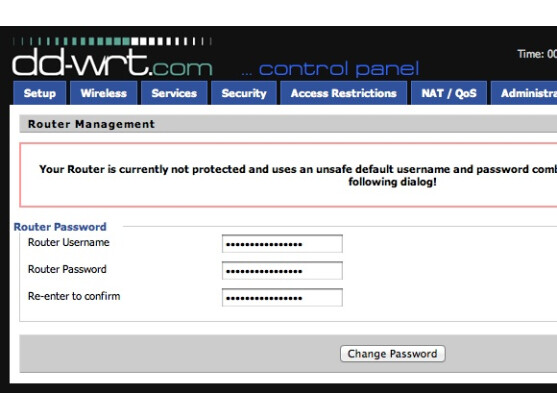 Nach der Installation muss das Passwort gesetzt werden.
