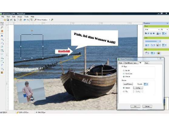 iPhotoDraw erlaubt auch rudimentäre Korrekturen an einem Foto.