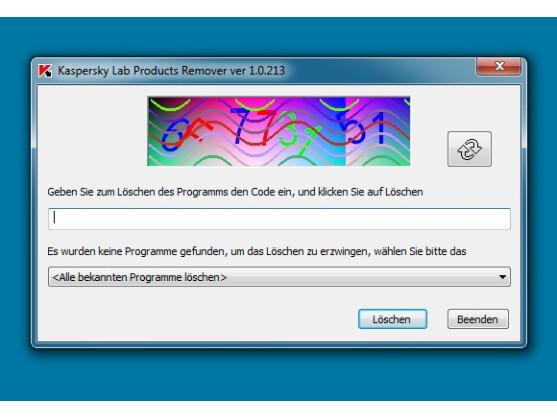 Kaspersky sichert die Nutzung seines Werkzeugs durch ein Captcha ab.