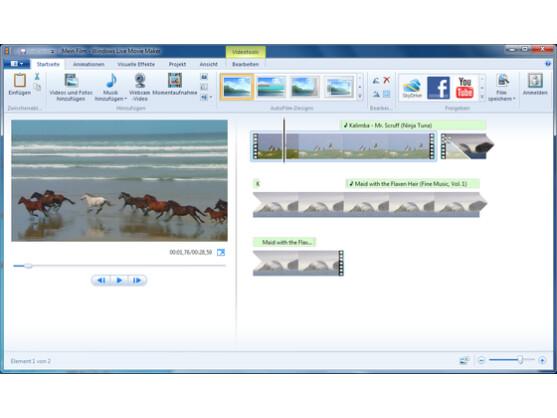 Kostenlos und übersichtlich: der Windows Live Movie Maker.