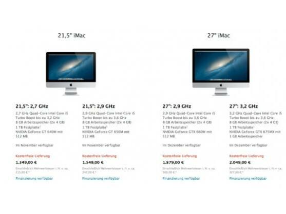 Laut Apple Store sollen die iMac-Modelle im November und Dezember ausgeliefert werden. Gerüchten zufolge wird der Hersteller diese Termine aber nicht einhalten können.