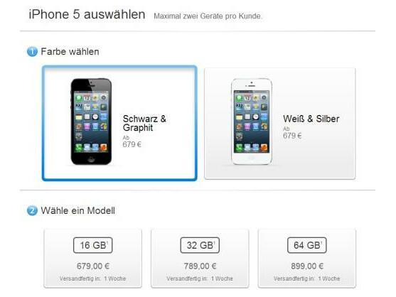 Die Lieferzeit für das Apple iPhone 5 beträgt jetzt nur noch eine Woche.