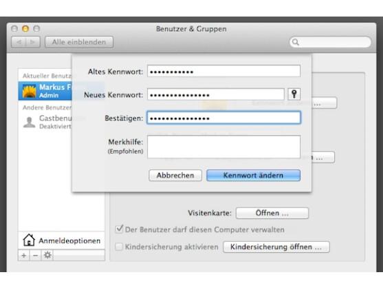 passwort wiederherstellen mac os x