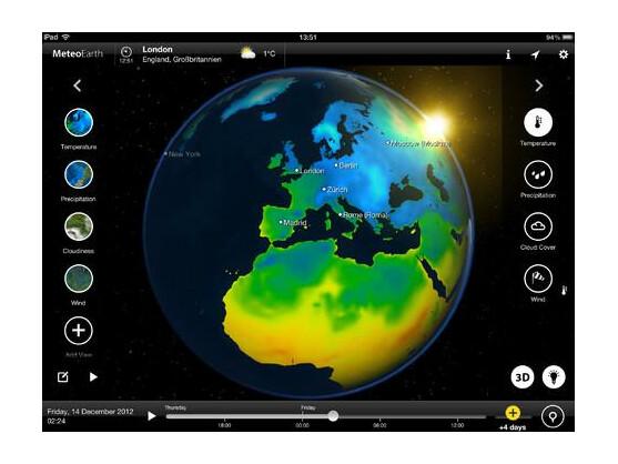 MeteoEarth soll auf dem iPad einen Wetterbericht in TV-Qualität ermöglichen.