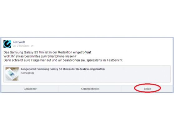 Auf der mobilen Webseite von Facebook ist nun der Teilen-Button zu finden.