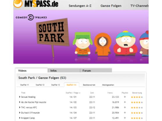 Auf MySpass.de kann der Nutzer unter anderem Southpark gucken.