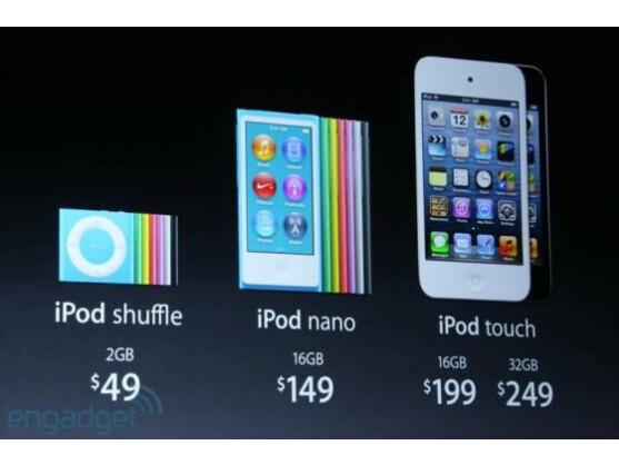 Die neue iPod-Familie von Apple.