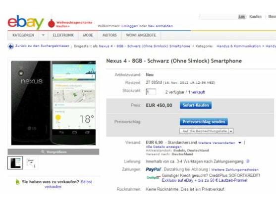 Das Nexus 4 ist bei eBay nur einen Klick entfernt, dafür aber deutlich teurer als bei Google Play.
