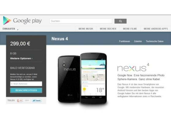 Das Nexus 4 ist im Play Store schon wieder vergriffen.
