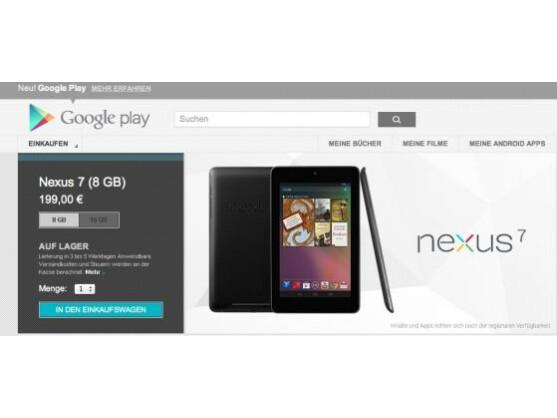 Nexus 7: Ab sofort über Google Play auch in Deutschland erhältlich.