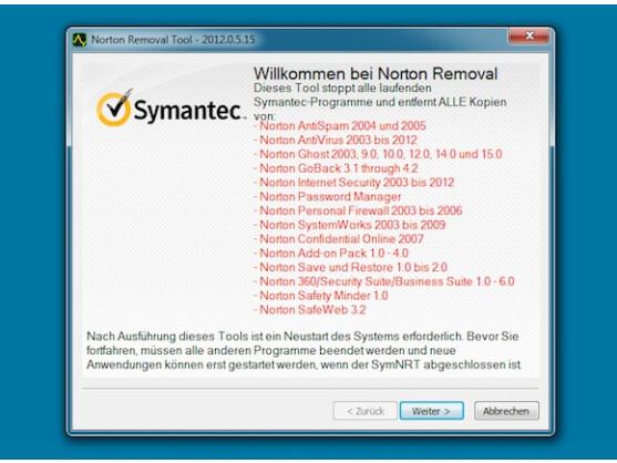Das Norton Removal Tool erwies sich unter Windows 7 als etwas instabil.