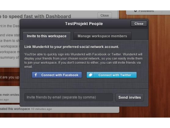 Nutzer können Personen zu einem Workspace per Facebook oder Twitter einladen.