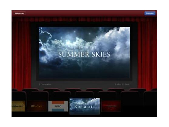 Nutzer können unterschiedliche Genre-Vorlagen für ihren Trailer bei iMovie wählen.
