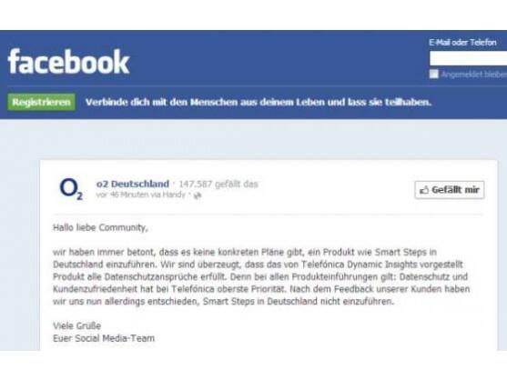 O2 teilte auch per Facebook mit, das umstrittene Programm Smart Steps in Deutschland nicht zu starten.