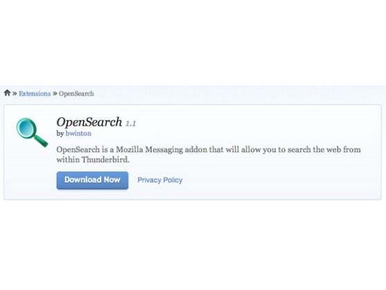 Das OpenSearch-Plug-in ist ab Version 10 direkt in Thunderbird enthalten.