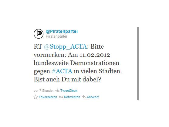 Proteste gegen ACTA - bald auch in Deutschland? Der 11.02. kursiert im Netz als mögliches Datum.