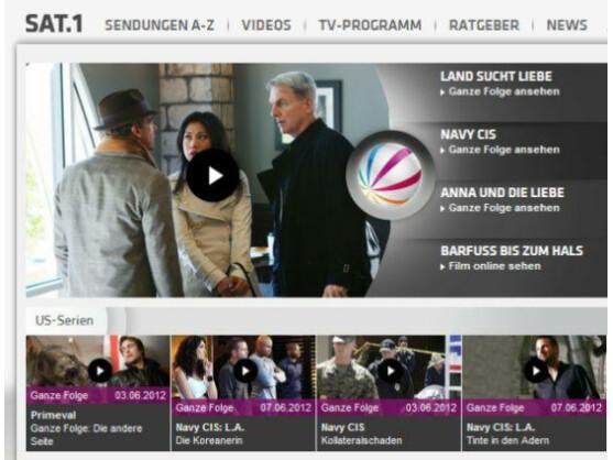 Auch Sat.1 bietet einzelne Serien-Folgen im Netz gratis an.