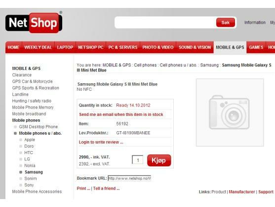 Skandinavische Online-Händler wie Netshop.no listen bereits das Galaxy S3 Mini.