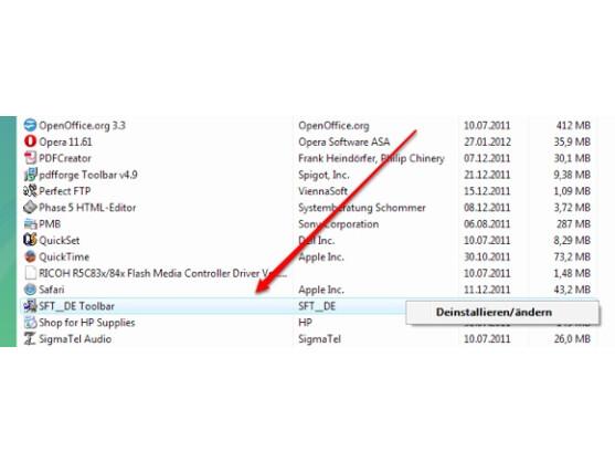 Die Softonic Toolbar taucht mitunter auch in der Systemsteuerung auf.