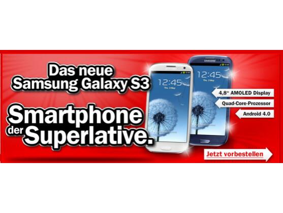 Sowohl Media Markt als auch Saturn bieten das Galaxy S3 zum Vorbestellen an.