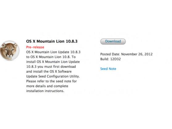 Steht ab sofort für Entwickler zum Download bereit: Beta von Mac OS X 10.8.3