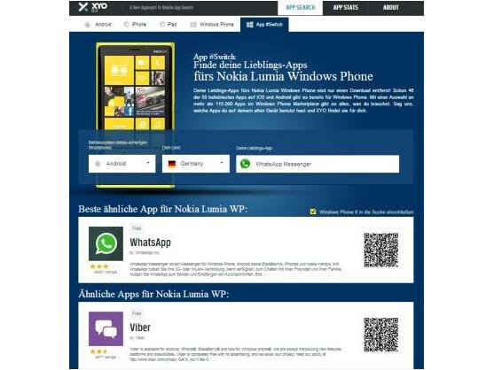 Die Suchmaschine Xyologic hilft dem Nutzer zu prüfen, ob es seine Lieblingsapps auch für Windows Phone gibt.