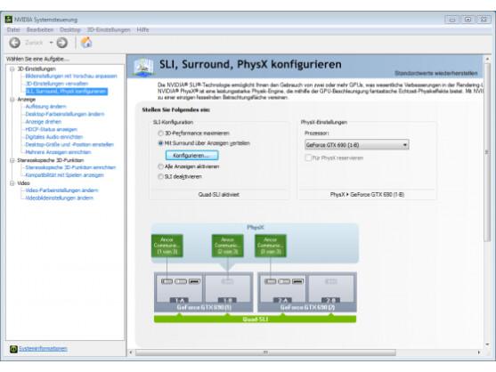 Die Surround-Darstellung auf allen drei Monitoren muss der Nutzer in den Nvidia-Systemeinstellungen aktivieren.