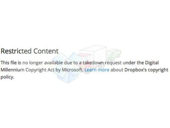 The Verge veröffentlichte einen Screenshot von Dropbox, auf dem auf die Entfernung der Datei hingewiesen wird.