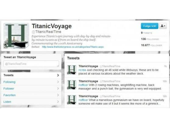 Auf dem Twitter-Account TitanicVoyage kann der Untergang der Titanic noch einmal in Echtzeit verfolgt werden.