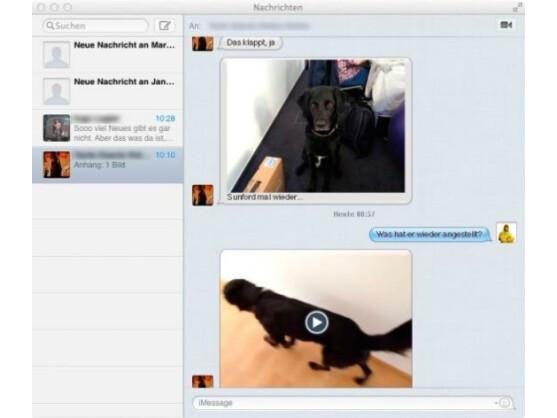 Über die Nachrichten-App von Moutain-Lion können Nutzer Text-, Bild- und Video-Dateien kostenlos an kompatible Geräte schicken.