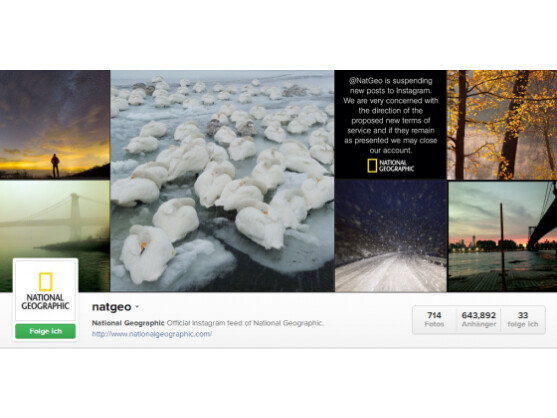Die US-amerikanische Ausgabe des National Geographic protestierte gegen die neuen Nutzungsbedingungen von Instagram.