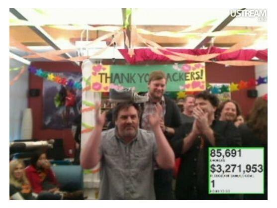 Während der letzten Stunden der Kickstarter-Aktion herrschte ausgelassene Stimmung im Entwicklerstudio Double Fine Productions.