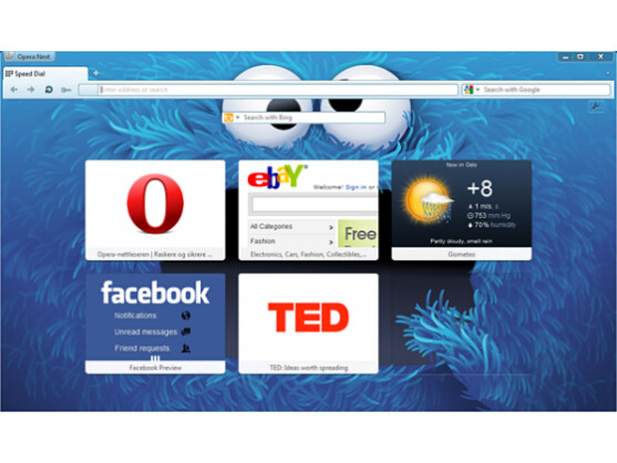 Der Webbrowser Opera bietet unter anderem neue Hintergrundmotive.