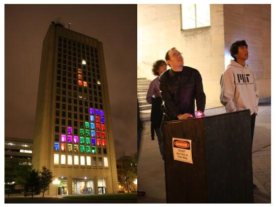 Das MIT zauberte eine spielbare Version von Tetris an eines ihrer Gebäude.