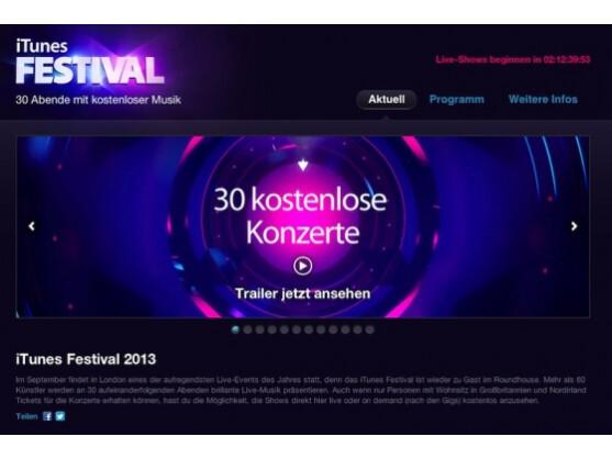 30 kostenlose Konzerte im September: das iTunes Festival 2013.