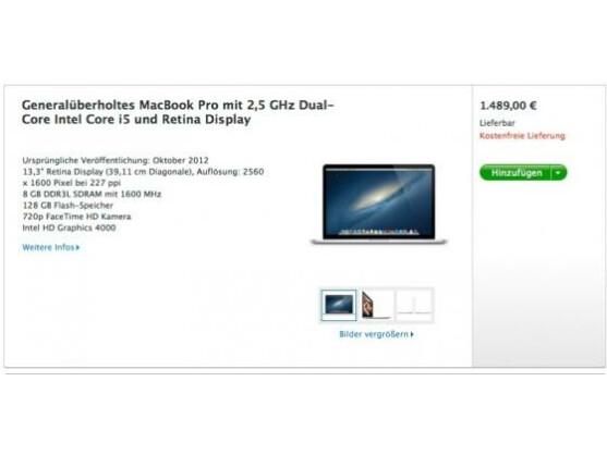 Bis zu 310 Euro günstiger: Apple MacBook Pro mit Retina-Display im Apple Refurbished Store